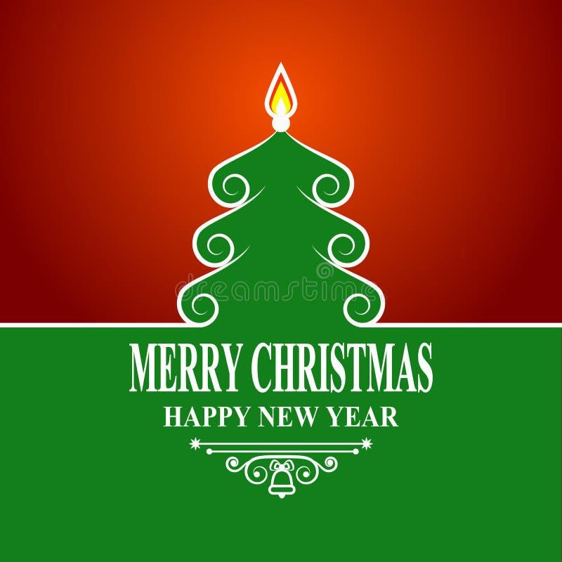 Árbol de navidad verde abstracto en fondo rojo Tarjeta de las decoraciones del día de fiesta del saludo de la Feliz Navidad y del ilustración del vector
