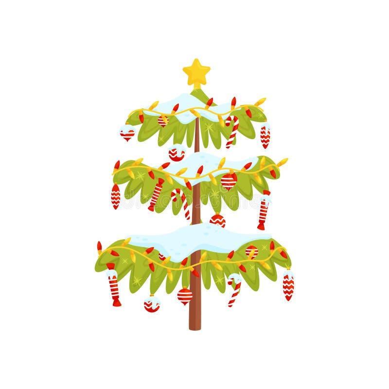 Árbol de navidad verde adornado con los juguetes, las luces, los caramelos y la estrella de oro en el top Diseño plano del vector ilustración del vector