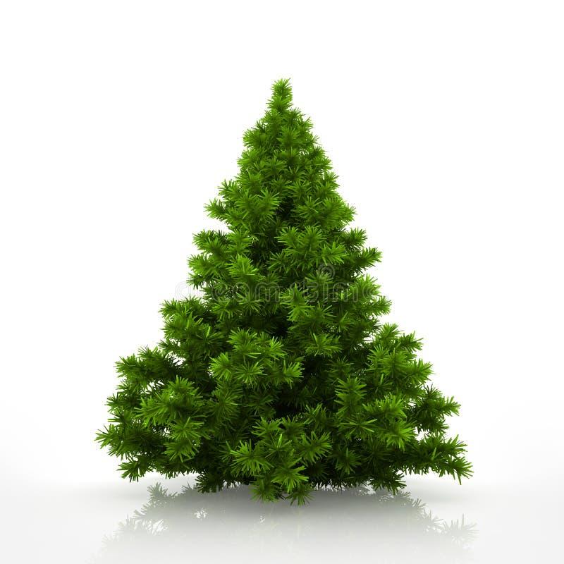 Árbol de navidad verde aislado en el fondo blanco libre illustration
