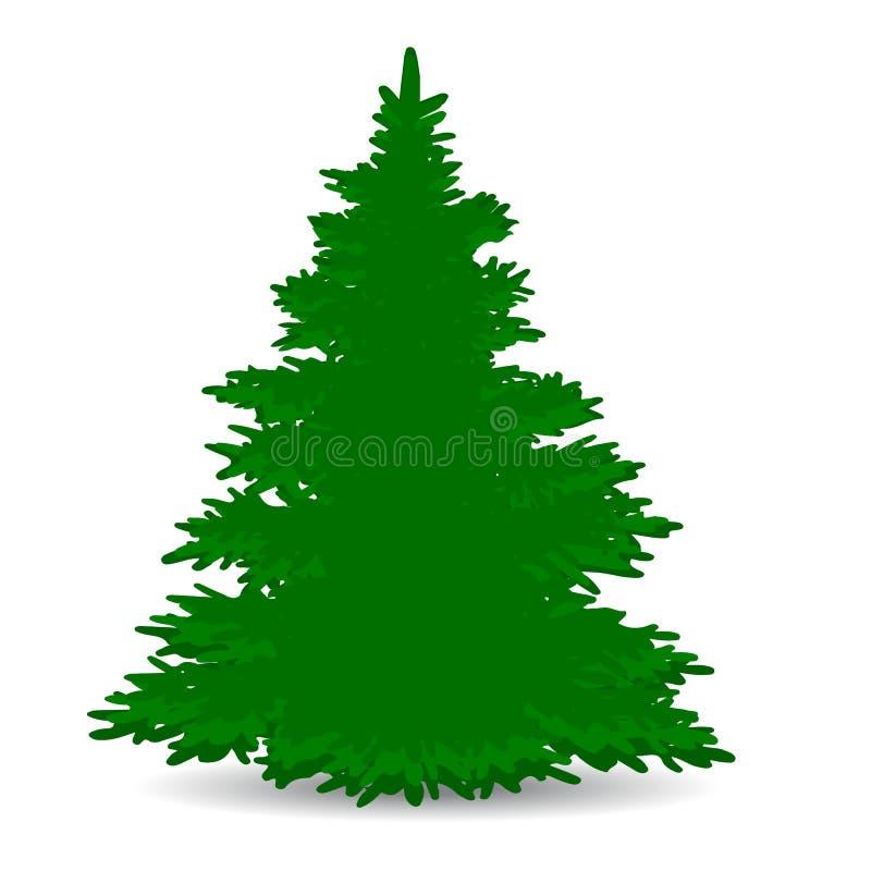 Árbol de navidad, verde, borrachín, silueta en el fondo blanco, stock de ilustración