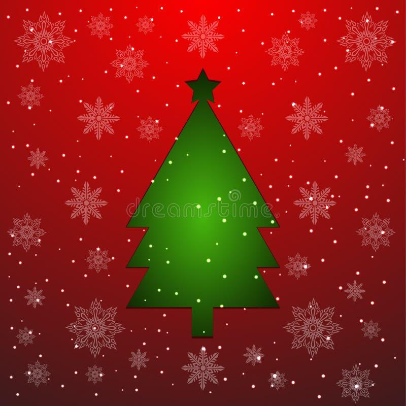 Árbol de navidad verde cortado del documento sobre rojo ilustración del vector