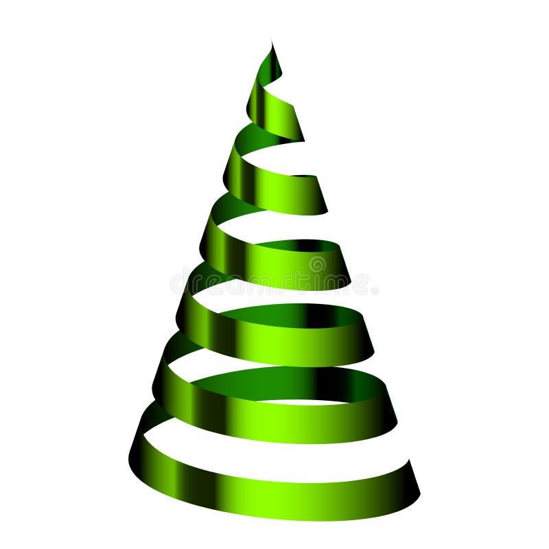 Árbol de navidad verde de la cinta ilustración del vector