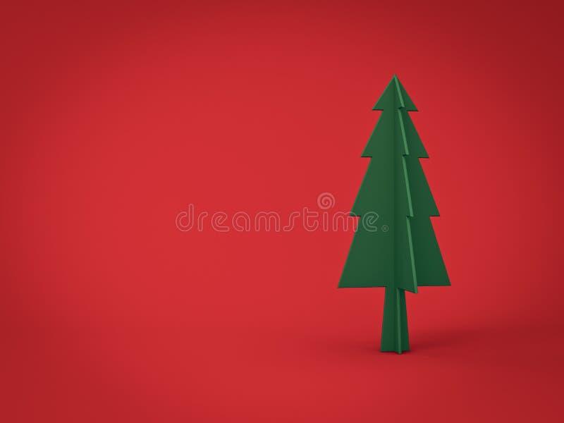 Árbol de navidad verde en el fondo rojo oscuro para la decoración de la Navidad con el espacio en blanco fotos de archivo