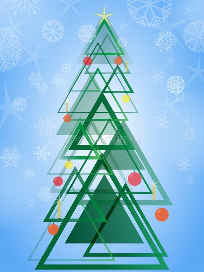 Árbol de navidad verde geométrico abstracto Árbol de navidad del modelo del diseño del triángulo en fondo azul con los copos de n ilustración del vector