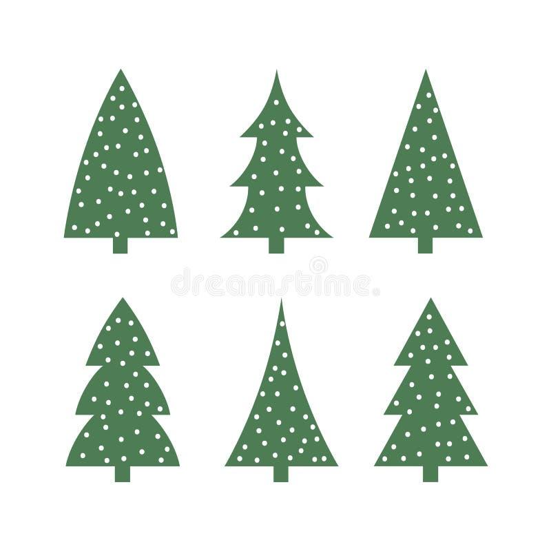 Árbol de navidad verde lindo en el vector determinado de la silueta del icono de la nieve ilustración del vector