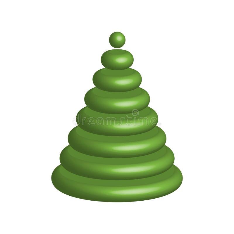 Árbol de navidad verde objeto brillante del vector 3D con las esquinas redondeadas ilustración del vector