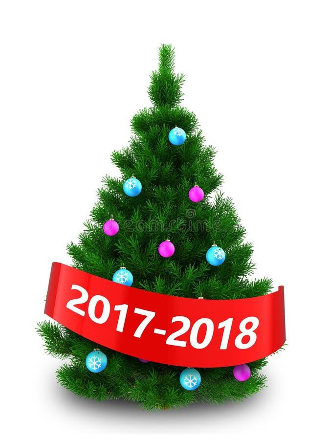 árbol de navidad verde oscuro 3d con la muestra 2017 2018 libre illustration