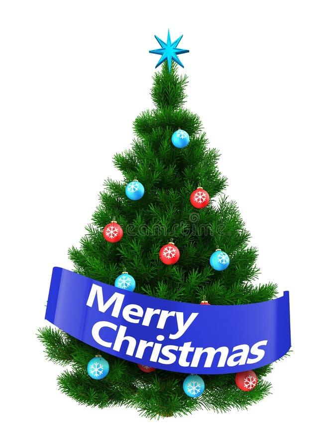árbol de navidad verde oscuro 3d con la muestra de la Feliz Navidad ilustración del vector