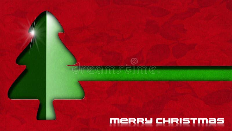 Árbol de navidad verde y terciopelo floral rojo libre illustration