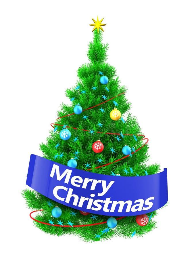 árbol de navidad vibrante 3d con la muestra de la Feliz Navidad stock de ilustración