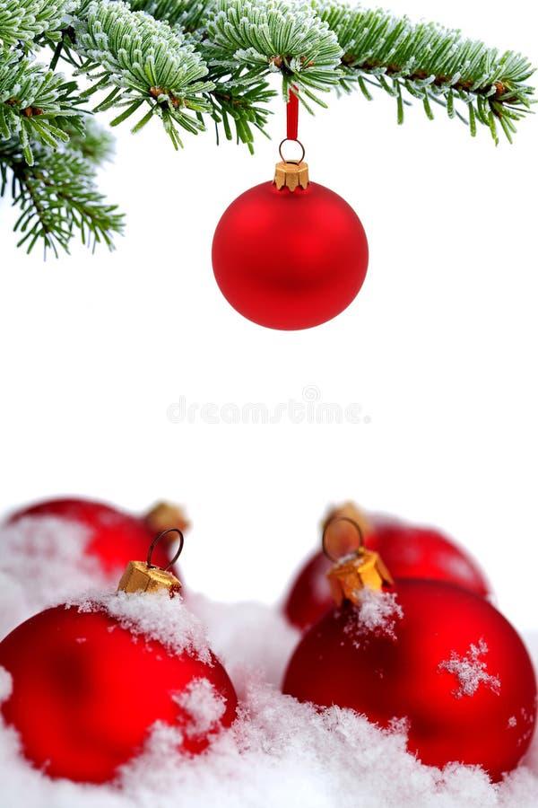 Árbol de navidad y bolas de cristal rojas imagen de archivo