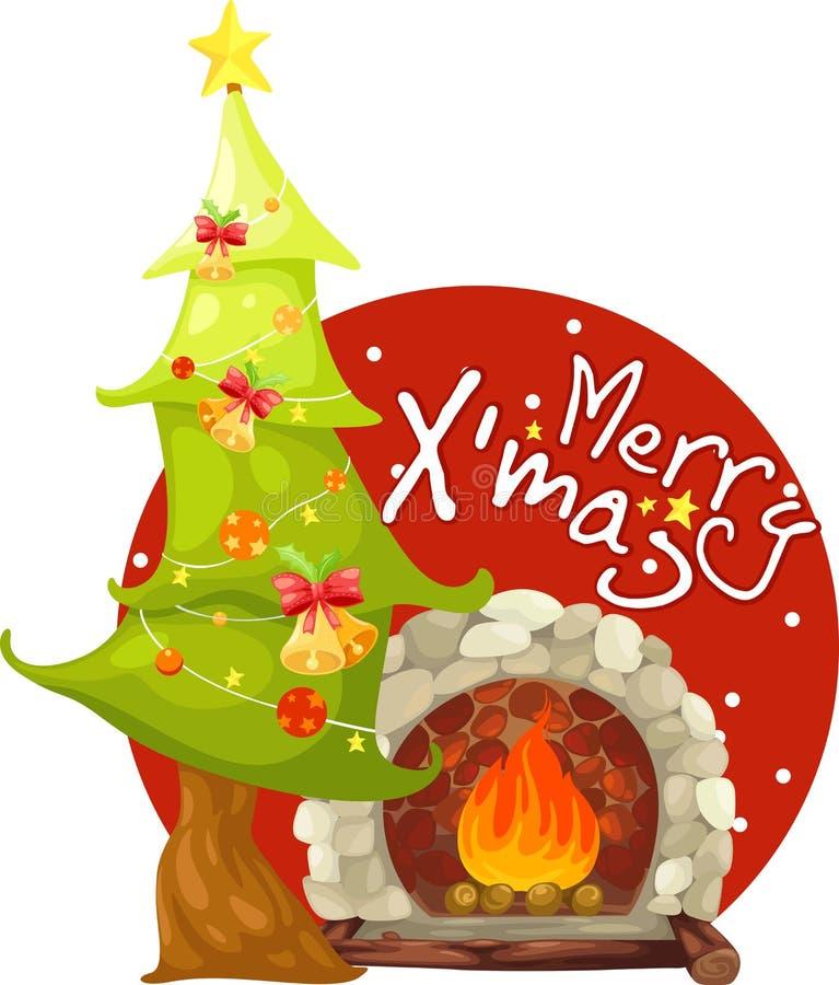 Árbol de navidad y chimenea stock de ilustración