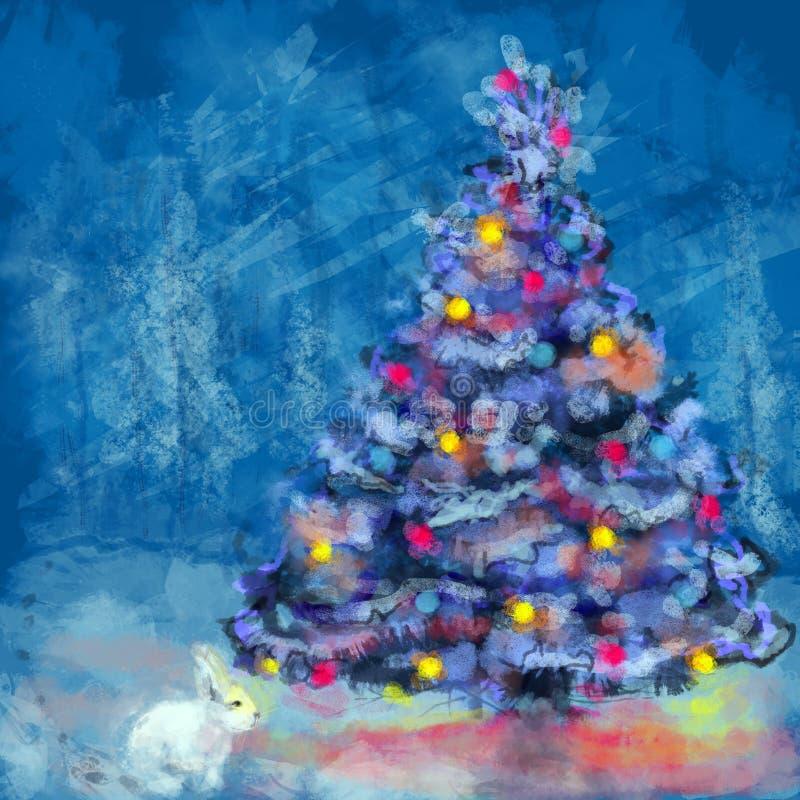 Árbol de navidad y conejo blanco imagenes de archivo