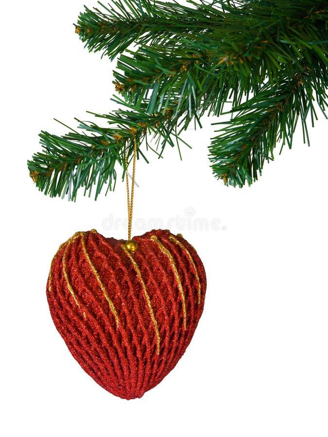Árbol de navidad y corazón imagen de archivo