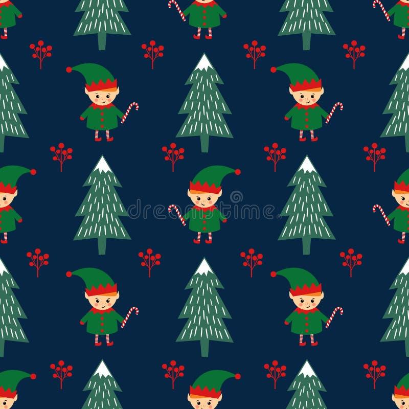 Árbol de navidad y duende con el modelo inconsútil del bastón de caramelo ilustración del vector