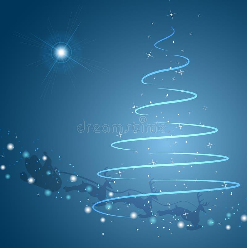 Árbol de navidad y estrella con el trineo de Santa stock de ilustración