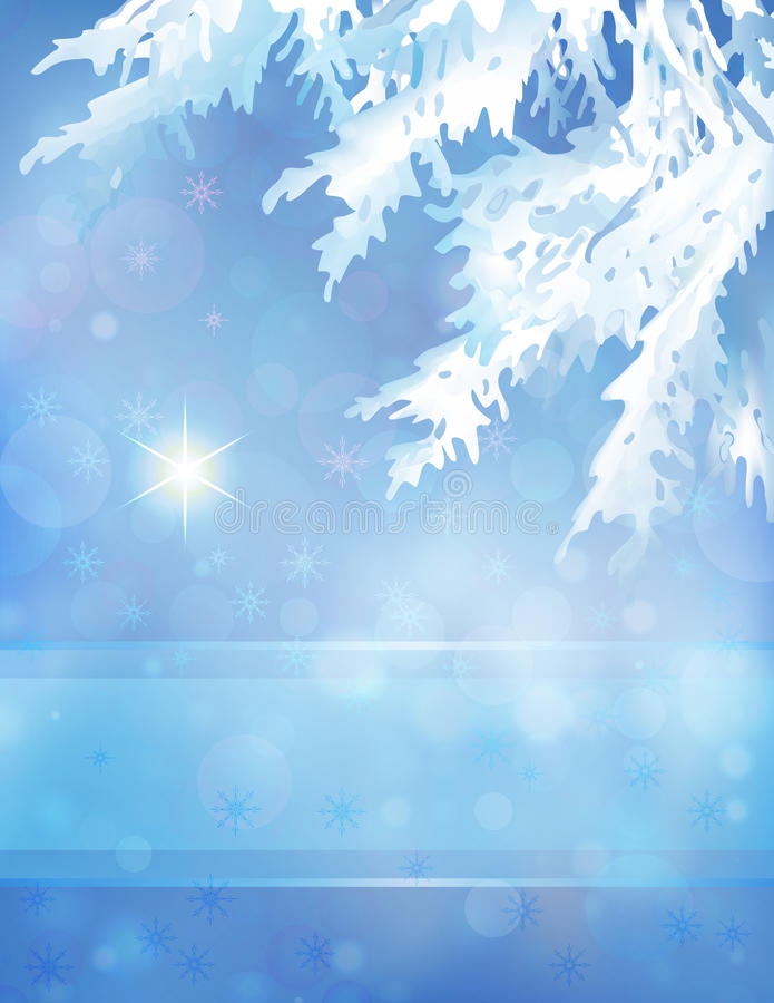 Árbol de navidad y estrella en fondo azul del bokeh ilustración del vector