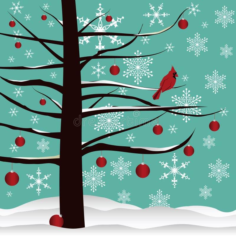 Árbol de navidad y fondo cardinal rojo libre illustration