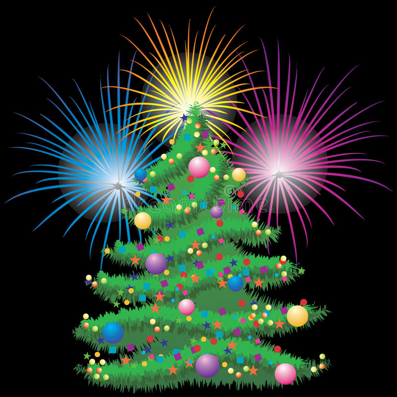 Árbol de navidad y fuegos artificiales. stock de ilustración