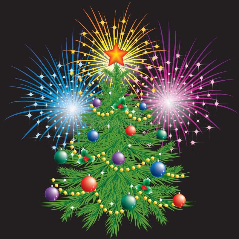 Árbol de navidad y fuegos artificiales. ilustración del vector