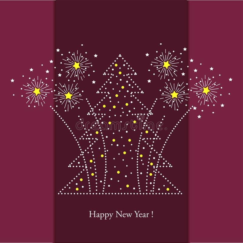 Árbol de navidad y fuegos artificiales festivos, fondo del vector para la inscripción y postales libre illustration