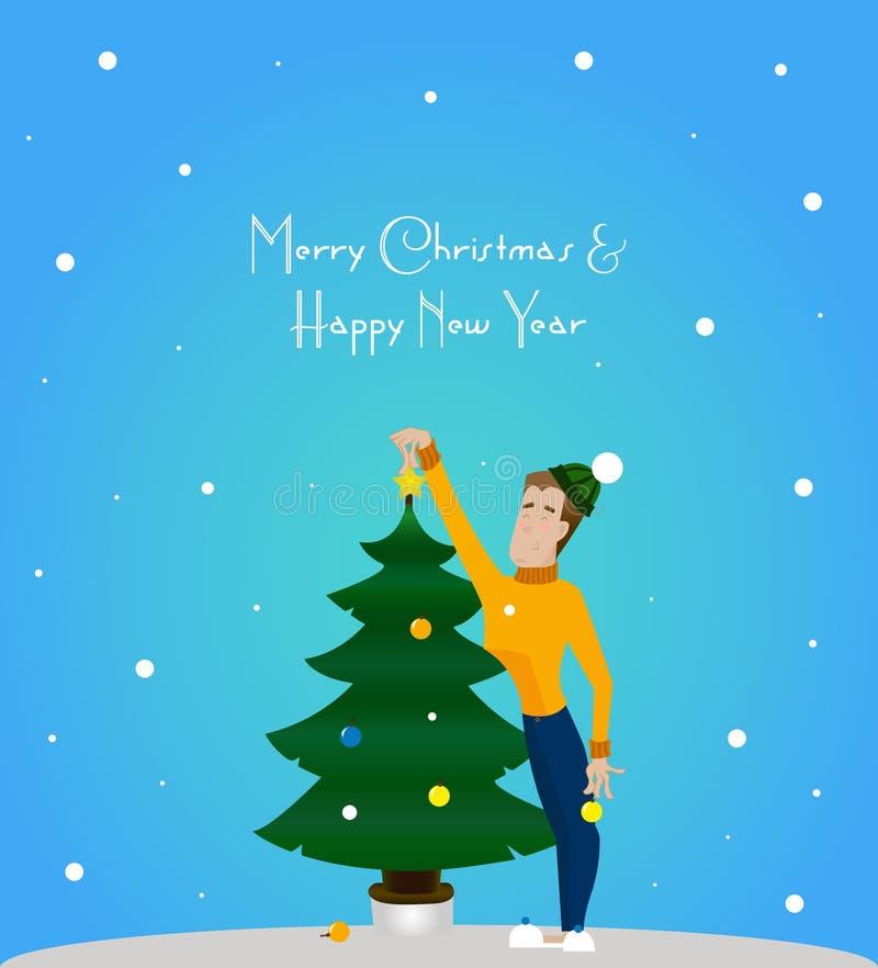 Árbol de navidad y hombre imagen de archivo