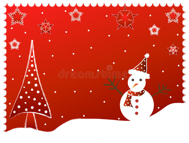 Árbol de navidad y hombre de la nieve -   ilustración del vector