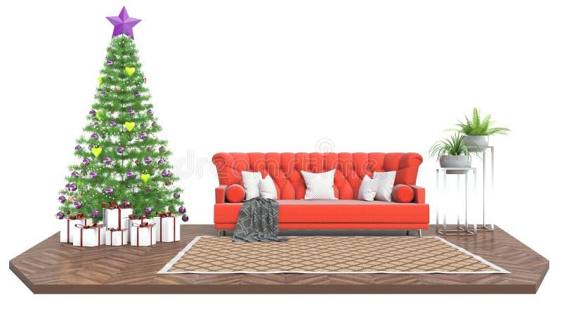 Árbol de navidad y muebles ilustración 3D ilustración del vector