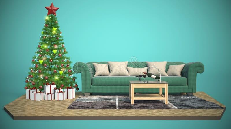 Árbol de navidad y muebles ilustración 3D stock de ilustración