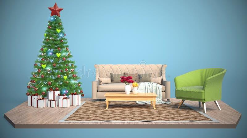 Árbol de navidad y muebles ilustración 3D libre illustration