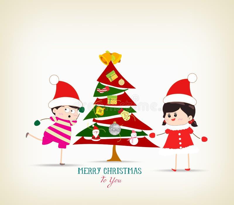 Árbol de navidad y niños del vintage divertidos ilustración del vector