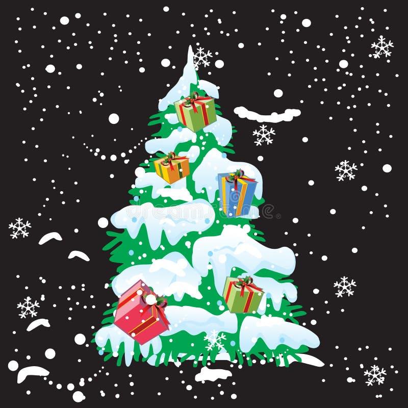 Árbol de navidad y nieve con el fondo de la Navidad y el vector de la tarjeta de felicitación imagen de archivo libre de regalías