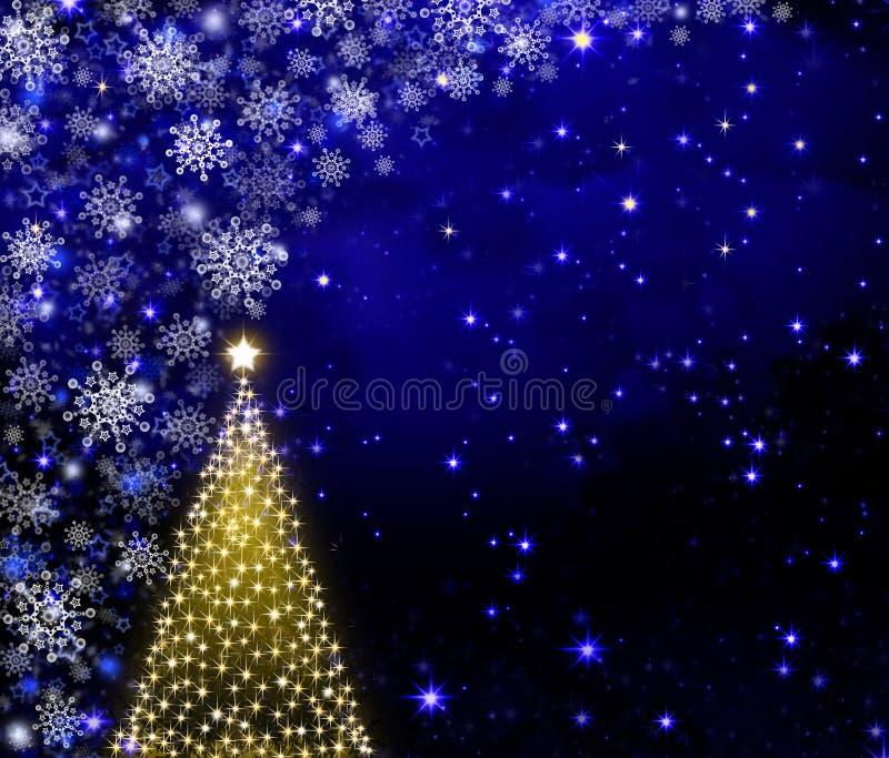 Árbol de navidad y nieve de oro libre illustration