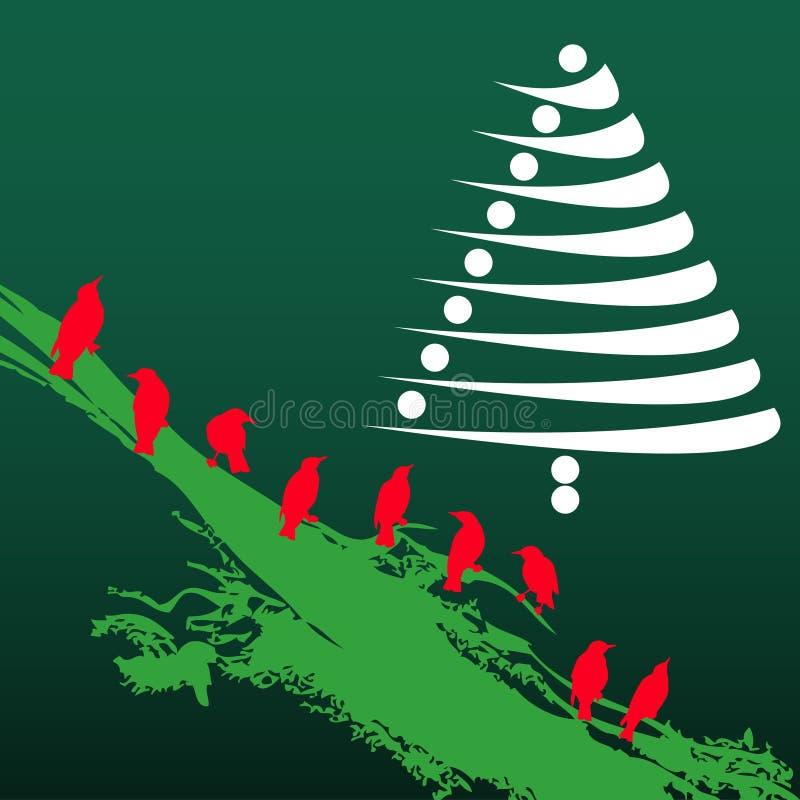 Árbol de navidad y pájaros stock de ilustración