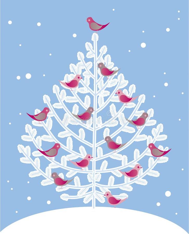 Árbol de navidad y pájaros rojos libre illustration