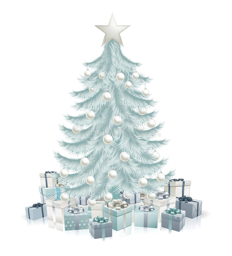 Árbol de navidad y regalos azules de plata ilustración del vector
