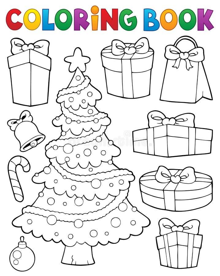 Árbol de navidad y regalos 1 del libro de colorear ilustración del vector