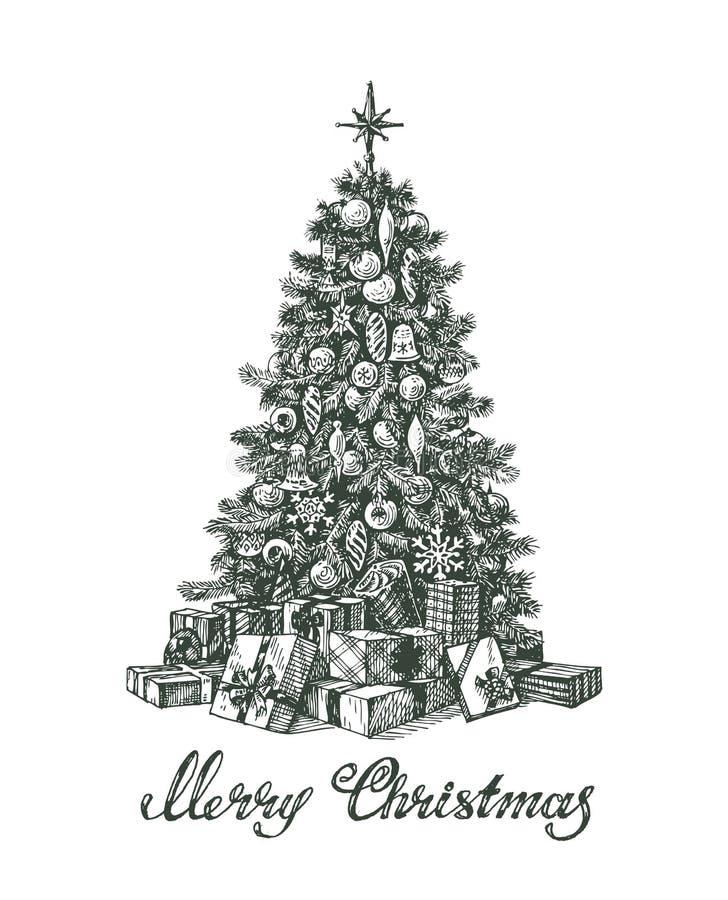 Árbol de navidad y regalos dibujados mano libre illustration