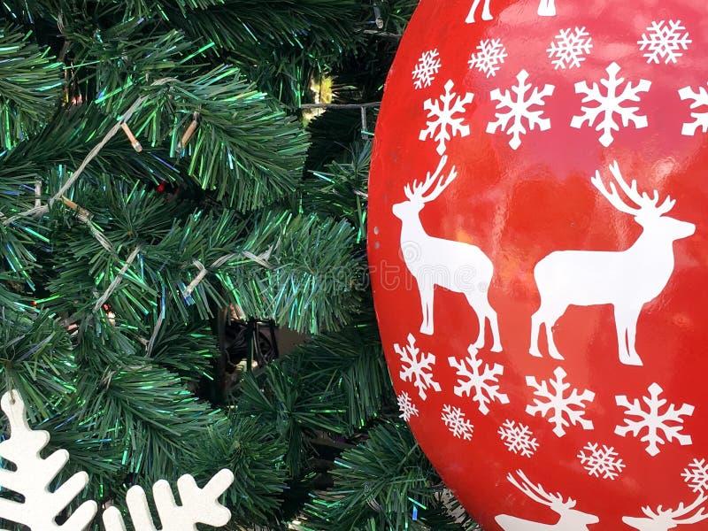 Árbol de navidad y reno blanco fotografía de archivo libre de regalías