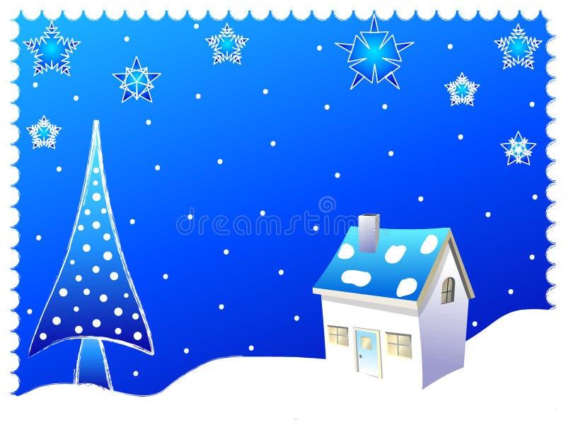 Árbol de navidad y una casa stock de ilustración