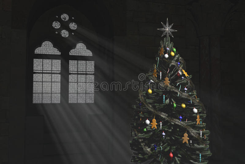 Árbol de navidad y una ventana gótica ilustración del vector