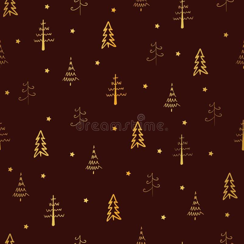 Árbol de Navidad y vector estrella sin problemas, patrón de repetición Árboles de oro y estrellas de fondo rojo Doodle, ilustraci ilustración del vector