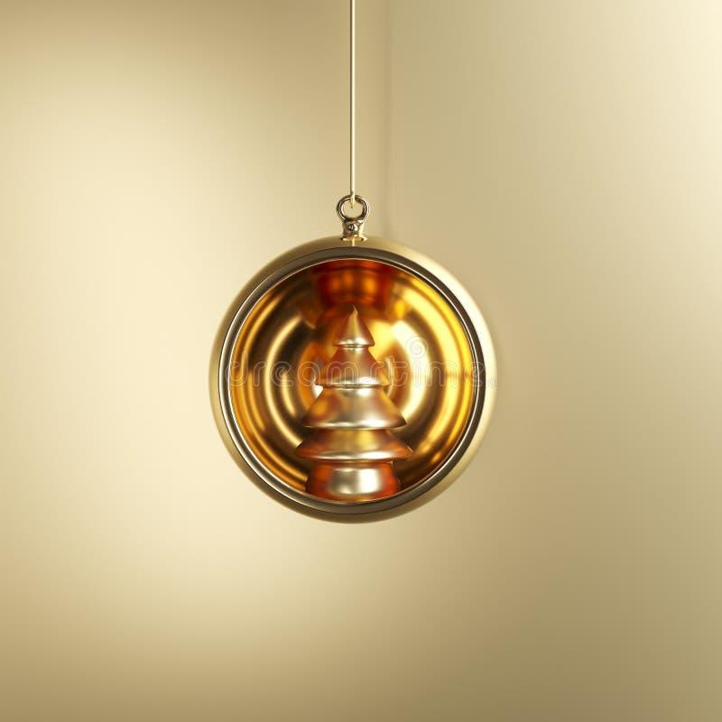 Árbol de oro en el ornamento de oro de la Navidad del vidrio del mercurio en fondo de oro stock de ilustración