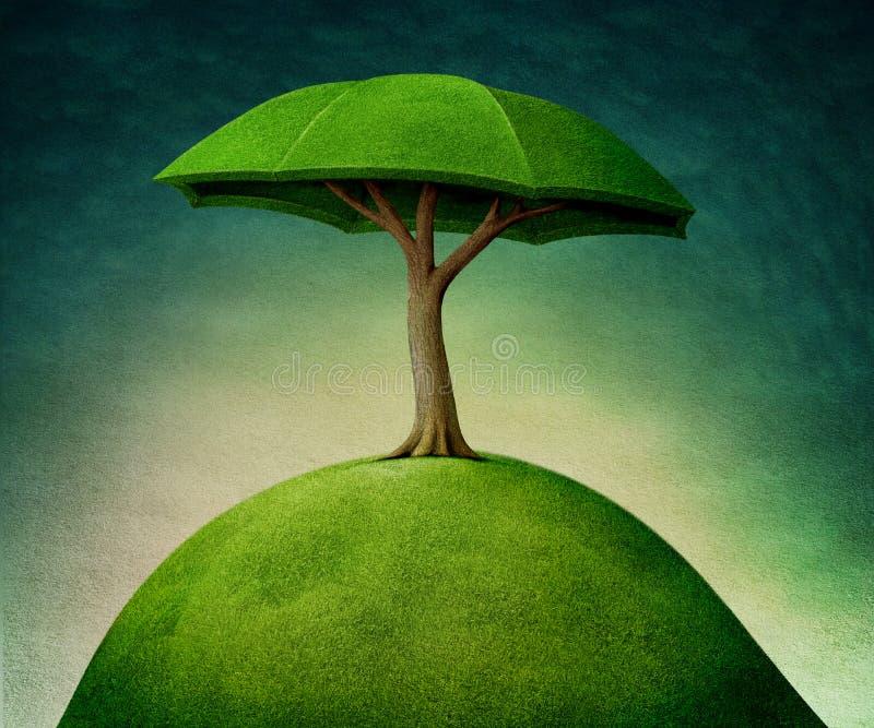 Árbol de paraguas ilustración del vector