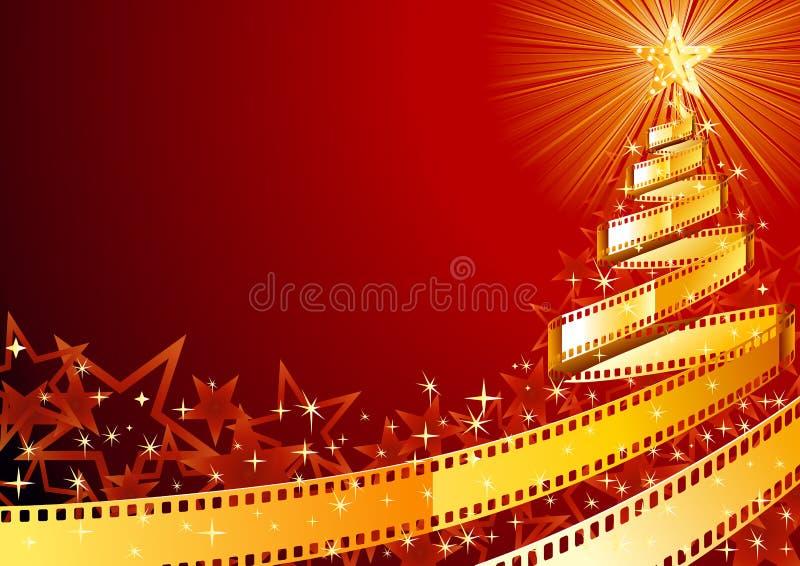 Árbol de pino de la tira de la película stock de ilustración