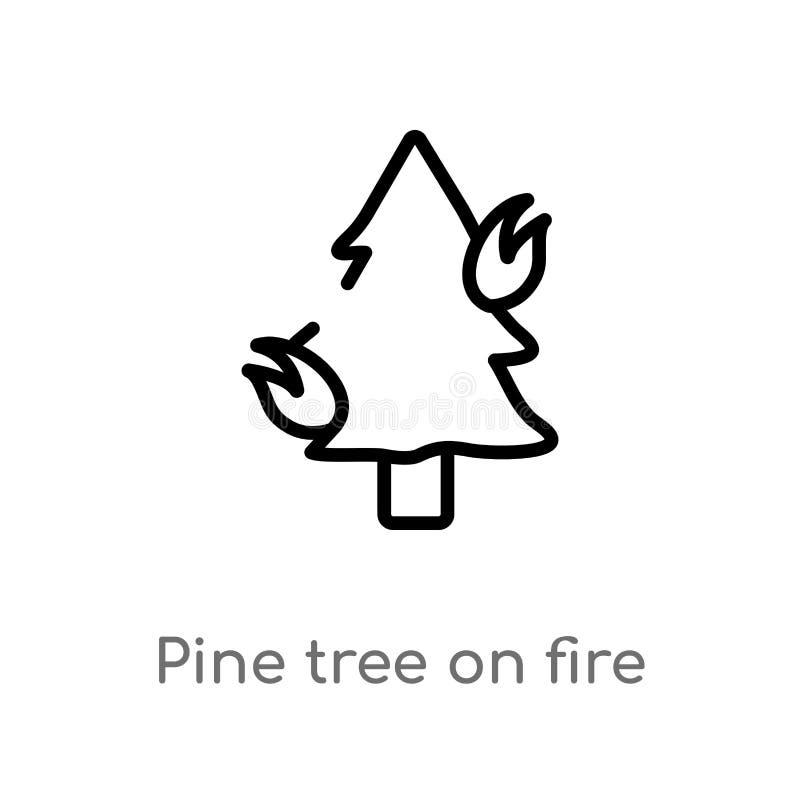 ?rbol de pino del esquema en icono del vector del fuego l?nea simple negra aislada ejemplo del elemento del concepto de la natura libre illustration