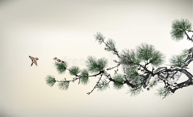 Árbol de pino del estilo de la tinta stock de ilustración