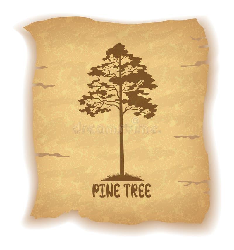 Árbol de pino en el papel viejo libre illustration