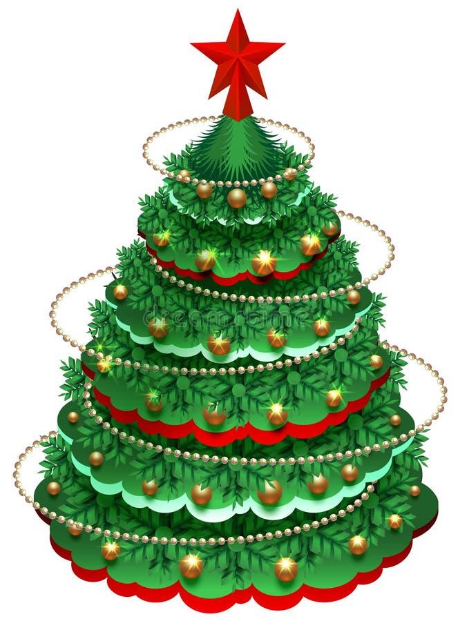 Árbol de pino festivo de la Navidad con las decoraciones y la estrella stock de ilustración
