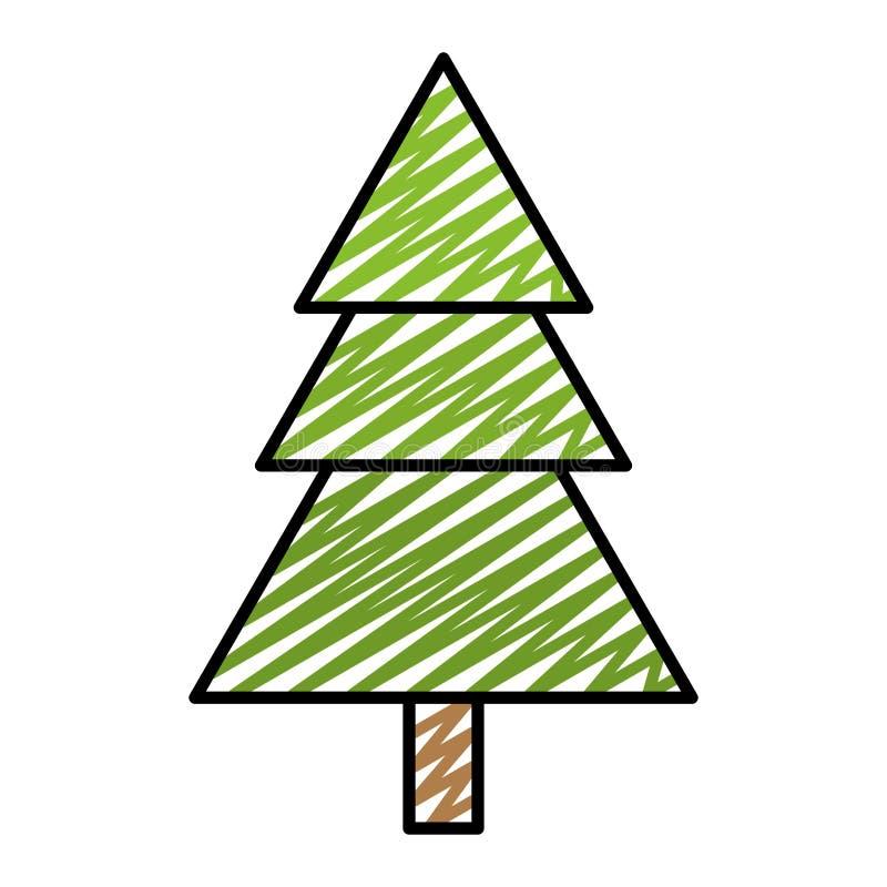 Árbol de pino de la belleza del garabato con el tallo del estilo stock de ilustración